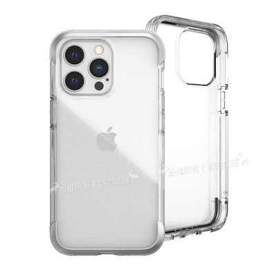DEFENSE 刀鋒AIR iPhone 13 Pro 6.1吋 金屬防撞邊框 減震氣囊防摔殼(清透銀)