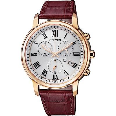 CITIZEN 星辰 XC 亞洲限定光動能羅馬計時女錶-玫瑰金框x紅/38mm