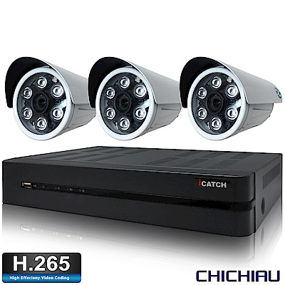 奇巧H.265 4路5MP iCATCH監控主機+SONY 1080P鏡頭*3