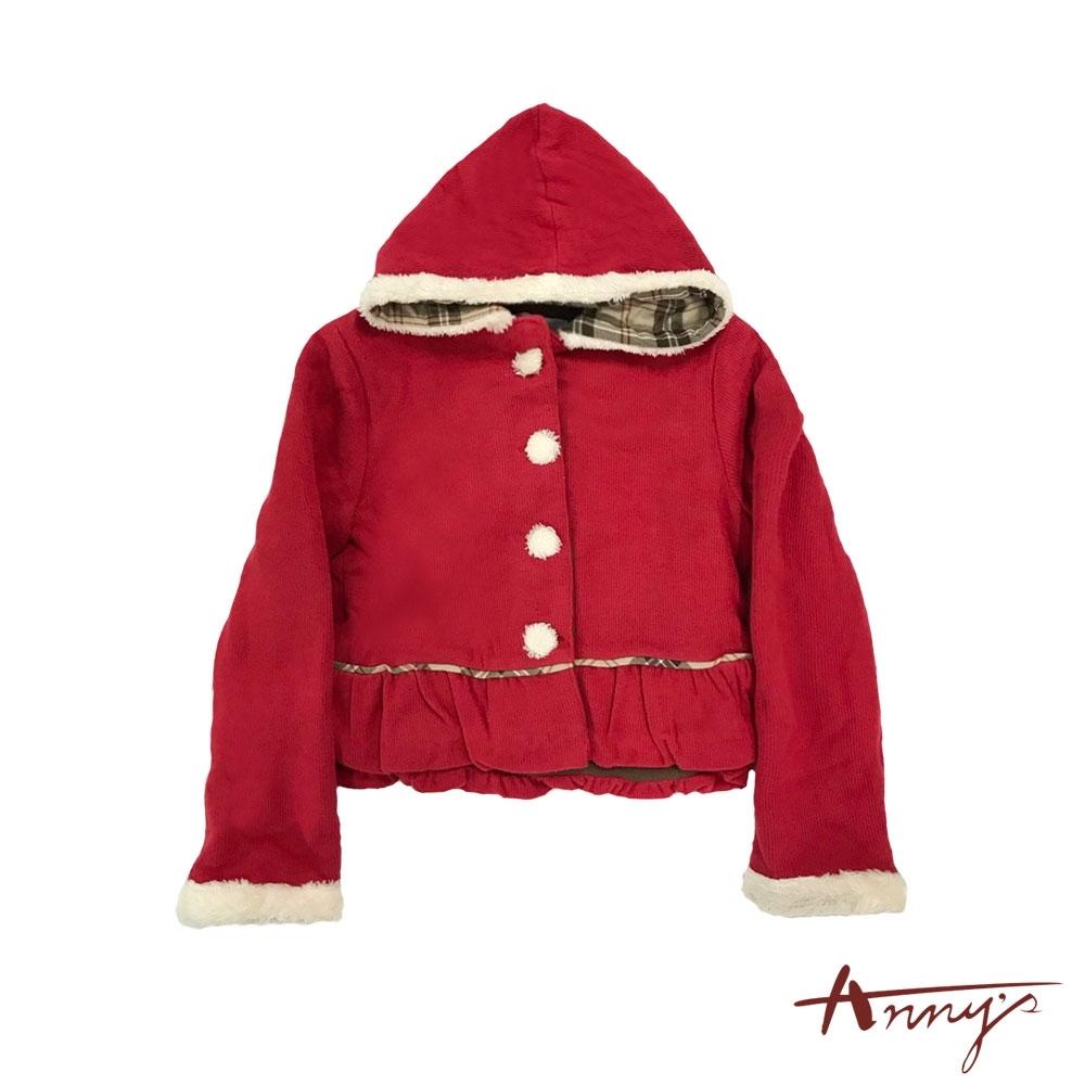 Annys可愛聖誕毛毛滾邊鈕扣傘擺連帽保暖外套*0282紅