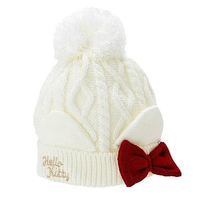 Sanrio HELLO KITTY女童可愛球球保暖針織毛帽(貓耳白)