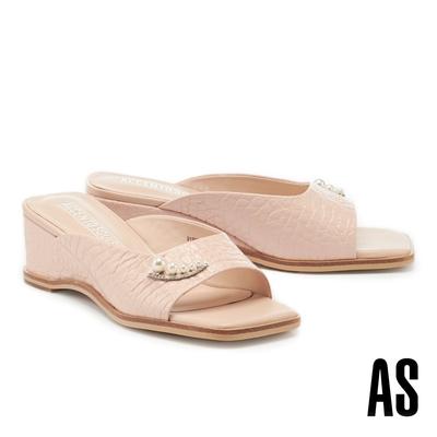 拖鞋 AS 優雅氣質珍珠鑽釦全真皮方頭楔型高跟拖鞋-粉