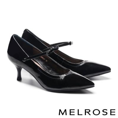 高跟鞋 MELROSE 氣質典雅光澤感兩穿造型尖頭高跟鞋-黑