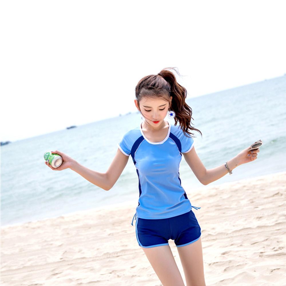 Biki比基尼妮泳衣  祥非運動泳衣有加大泳衣二件式泳衣(藍M-4XL)