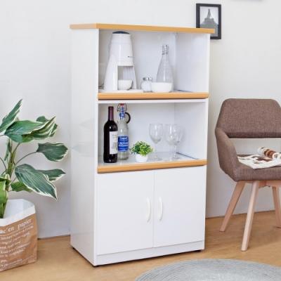 Bernice-2.2尺二門二拉盤防水塑鋼電器櫃/收納餐櫃(白色)-66x43x125cm