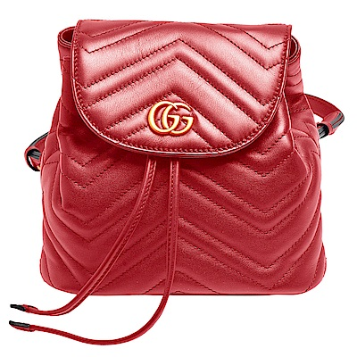 GUCCI GG Marmont絎縫紋牛皮金屬雙G LOGO磁釦束口後背包(芙蓉紅)