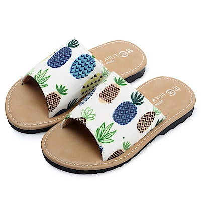 BuyGlasses 夏日水果圖案不修邊兒童拖鞋-白