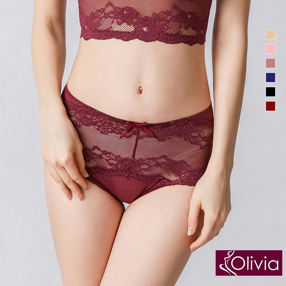 Olivia 性感蕾絲無痕中腰三角內褲-酒紅