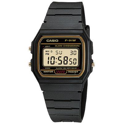 CASIO 復古潮流魅力電子錶-金框(F-91WG-9)/28.5mm