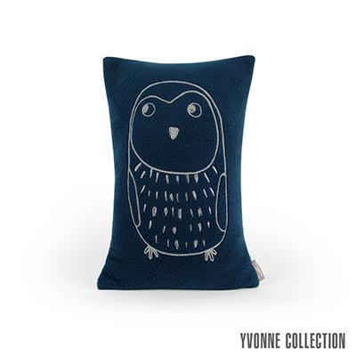 Yvonne Collection 小貓頭鷹抱枕30x45cm-深藍