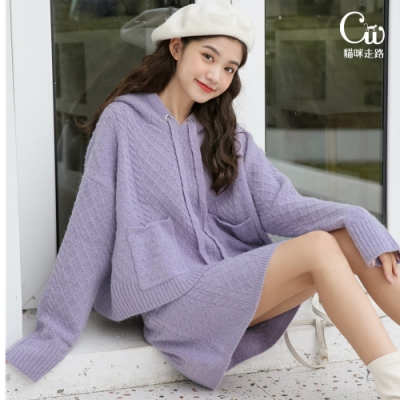 [CW.貓咪走路]小清新甜美連帽針織上衣+短裙套裝(百搭簡約/KDA-2788)