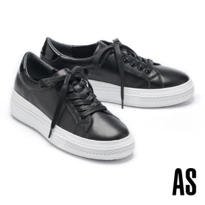 休閒鞋 AS 率性時尚異材質拼接全真皮綁帶厚底休閒鞋-黑