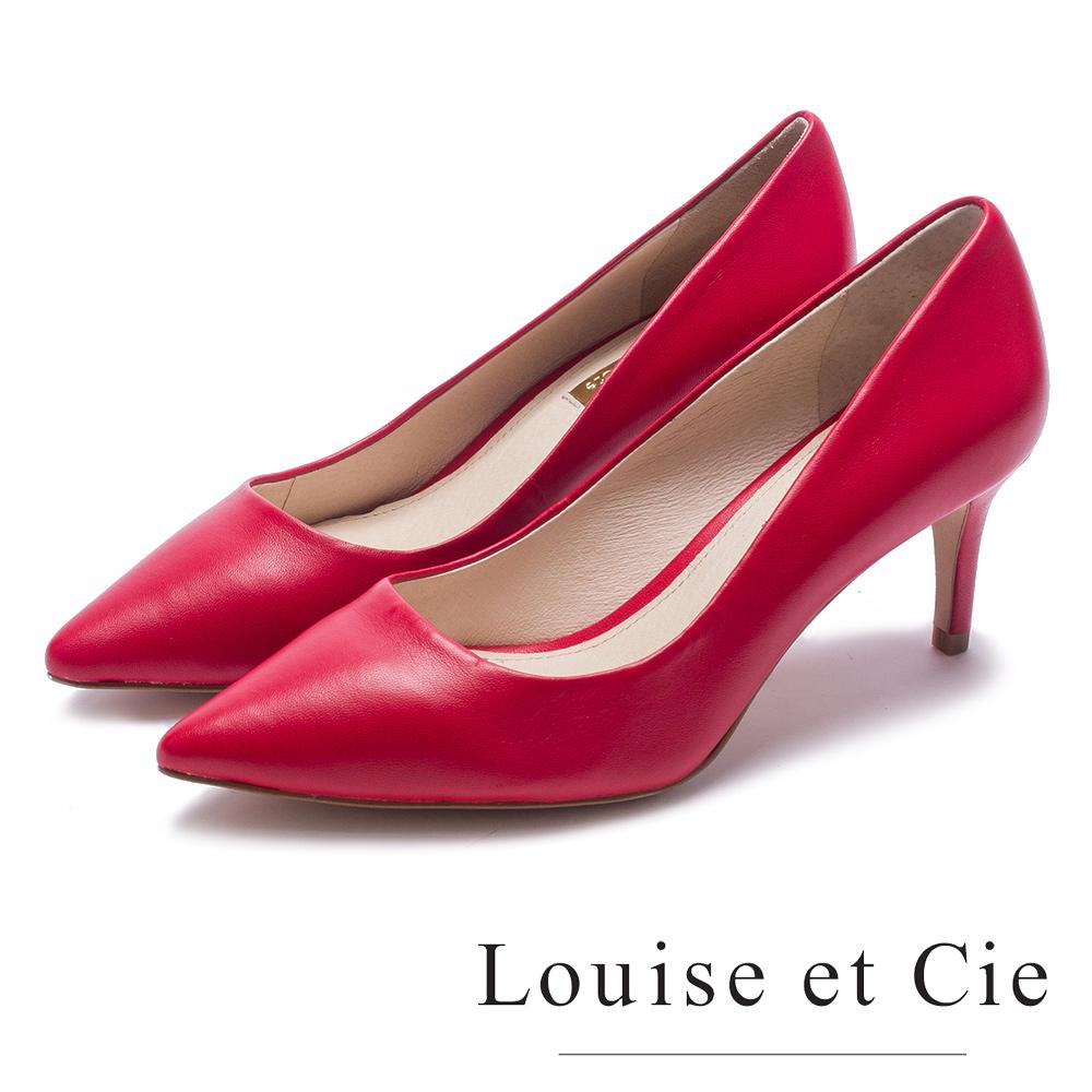 Louise et Cie 性感削邊流線型尖頭高跟鞋-鏡紅