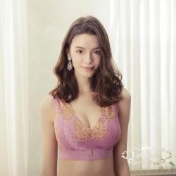 內衣 牡丹刺繡零著感單內衣-紫 La Queen