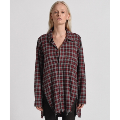 OneTeaspoon 襯衫 UPSIZED CHECK ZIP UP -紅(女)