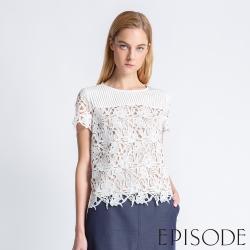 EPISODE - 立體蕾絲拼接造型上衣(白)