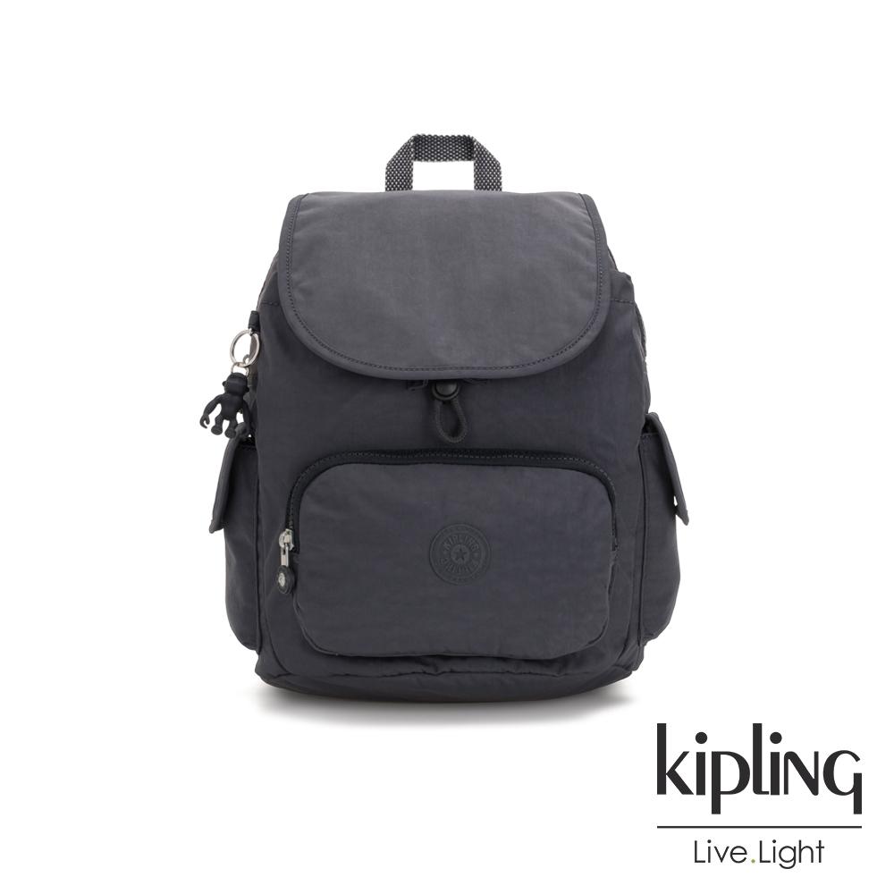 Kipling 都會簡約霧灰色拉鍊掀蓋後背包-CITY PACK MINI
