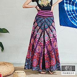 潘克拉 印度花繡線腰頭寬口褲-孔雀桃紫/花朵深紫
