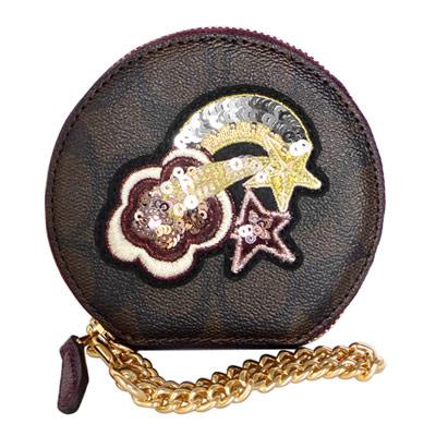 COACH深咖啡C Logo亮片刺繡流星鍊帶手掛零錢包