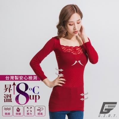 GIAT台灣製150D蕾絲美型機能保暖衣(一般長袖-蔚瓔紅)
