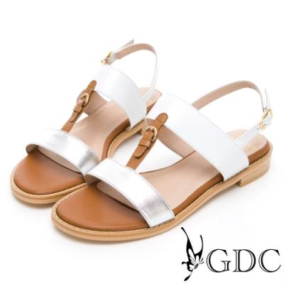 GDC-小歐洲奧戴莉真皮拼接一字中跟涼鞋-銀色