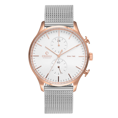 OBAKU 現代闡釋多功能腕錶-銀X玫瑰金(V196GUVWMC)/42mm