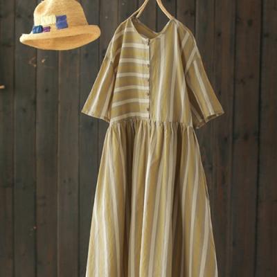 純棉拼接條紋半袖中長洋裝-設計所在