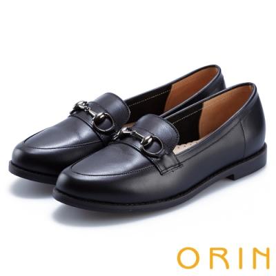 ORIN 女紳時尚 牛皮馬銜釦樂福鞋-黑色