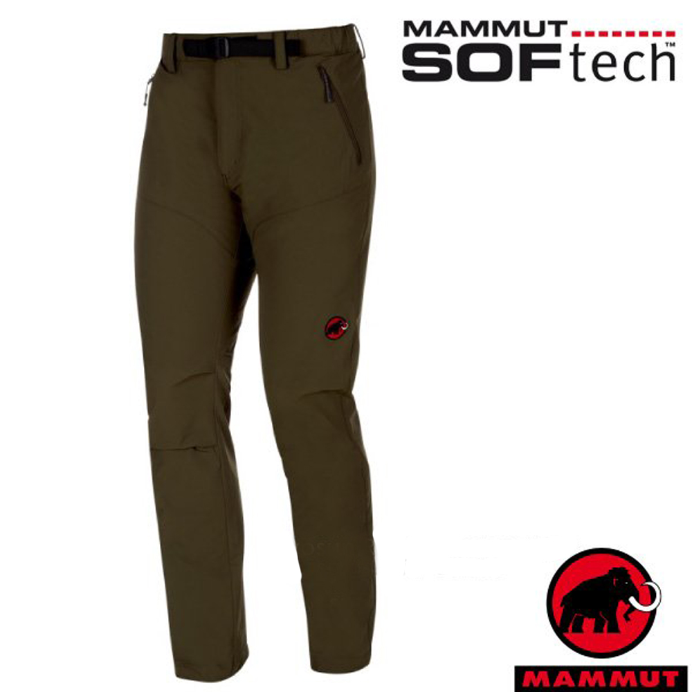 長毛象 男 SOFtech 機能4D彈性透氣快乾防潑水軟殼長褲_橄欖綠