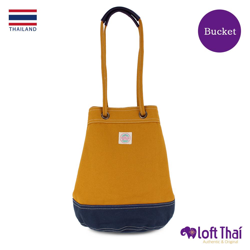 Loft THAI | 泰.兩用帆布水桶包(大) | Mustard/navy @ Y!購物