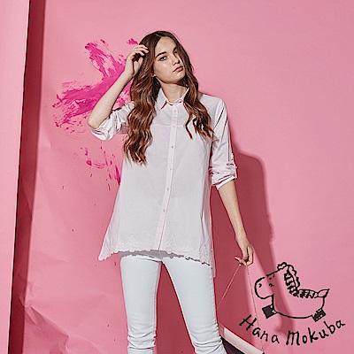 Hana+花木馬 無印簡約系下擺3D蕾絲雕花長袖長版造型襯衫上衣-櫻花淺粉