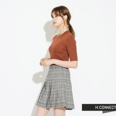 H:CONNECT 韓國品牌 女裝-格紋百摺短裙-藍