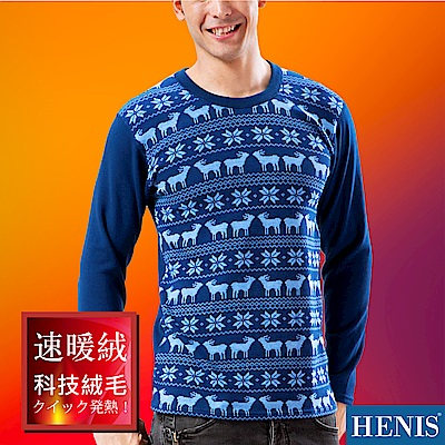 HENIS 速暖絨彈性印花長袖衫_藍底麋鹿印花