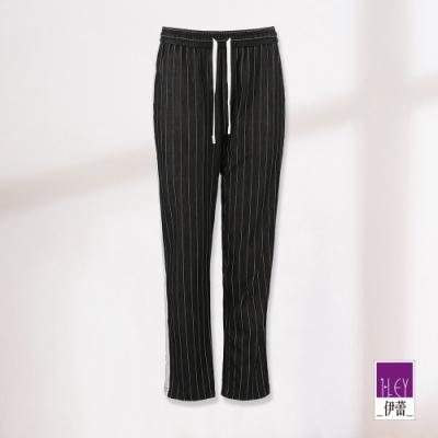 ILEY伊蕾 織帶造型綁帶條紋褲(黑)