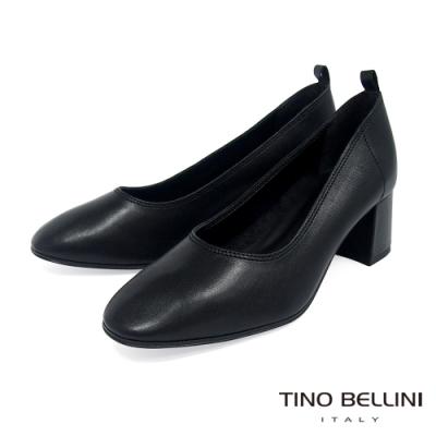 Tino Bellini義大利進口雅緻牛皮中粗跟鞋_黑