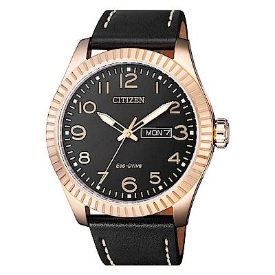 CITIZEN 星辰光動能簡約時尚真皮手錶(BM8533-13E)-黑X玫瑰金框/42mm @ Y!購物