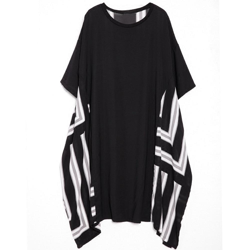 寬鬆後背拼接條紋雪紡長裙-F-CLORI