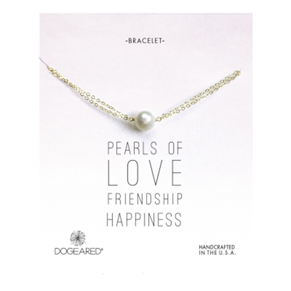 Dogeared 白色珍珠 金色手鍊 正圓款 925純銀鑲14K金 雙層鍊設計 可調式