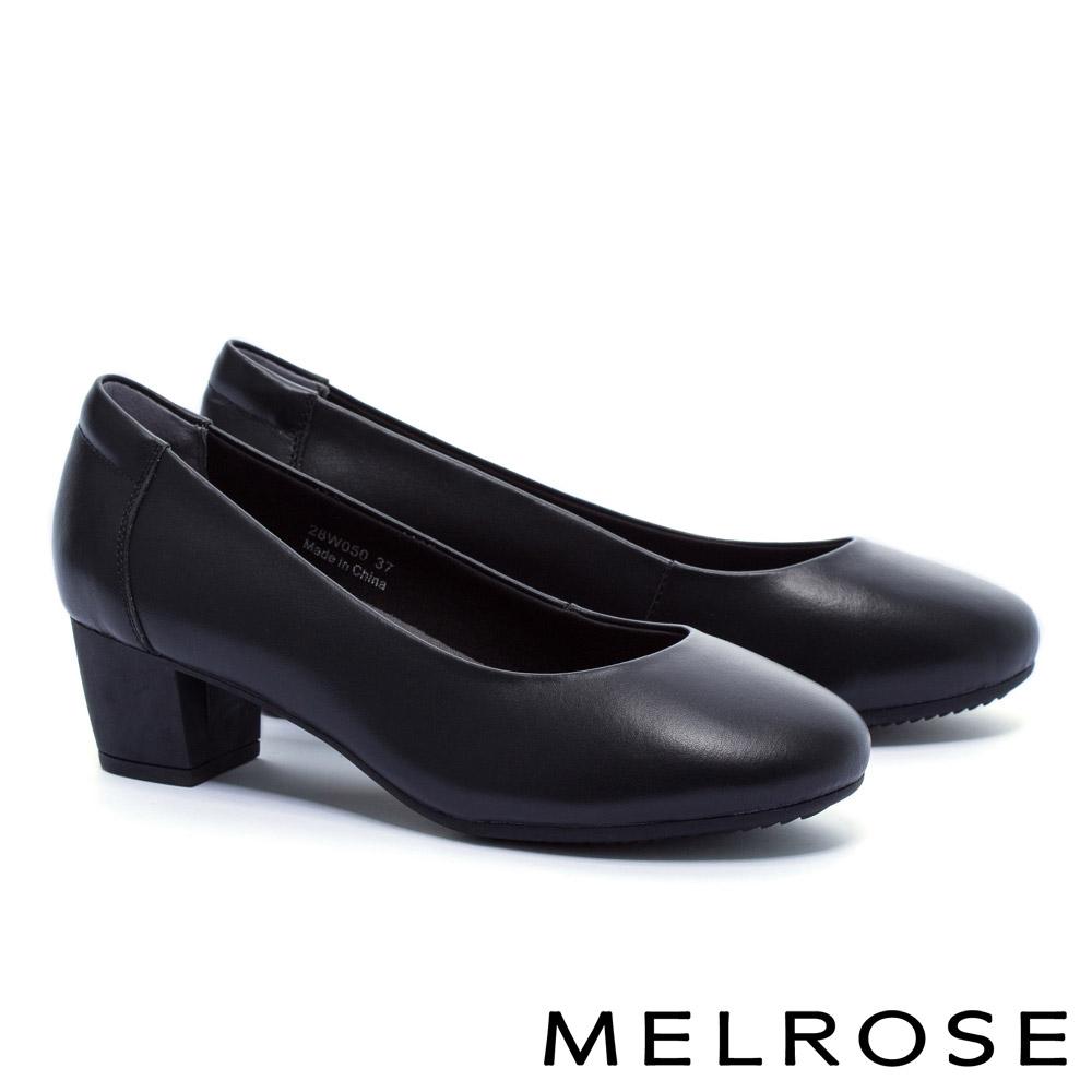 高跟鞋 MELROSE 經典百搭復古素雅牛皮圓頭粗跟高跟鞋-黑 @ Y!購物