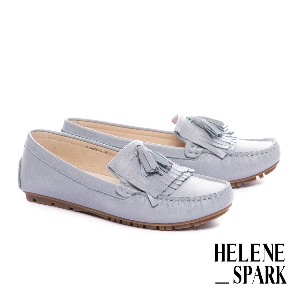 平底鞋 HELENE SPARK 日常舒適流蘇全真皮莫卡辛平底鞋-藍