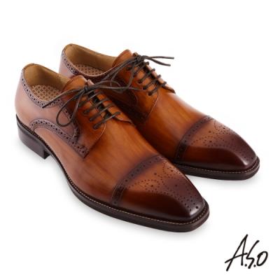 A.S.O 職場通勤勁步健康刷色工藝德比紳士鞋-茶