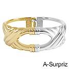 A-Surpriz 時尚流線雙色金屬手環(金銀)