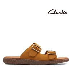 Clarks 盛夏光年 隨性兩片式金屬釦環拖鞋 赭色