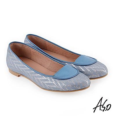 A.S.O 奇幻樂章 職場通勤金屬圖騰低跟包鞋 藍