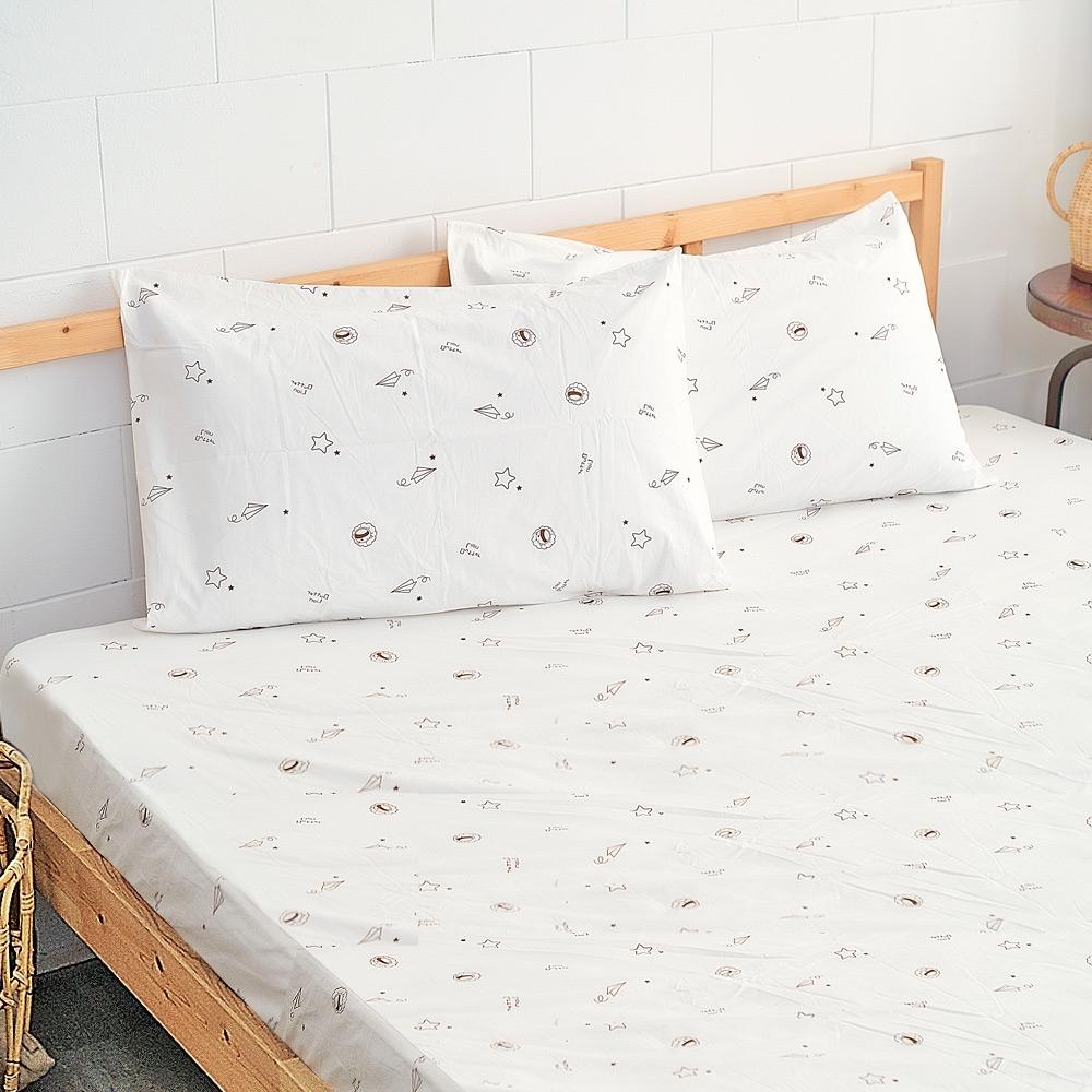 奶油獅-星空飛行-台灣製造-美國抗菌100%純棉床包二件組(米)-單人加大3.5尺