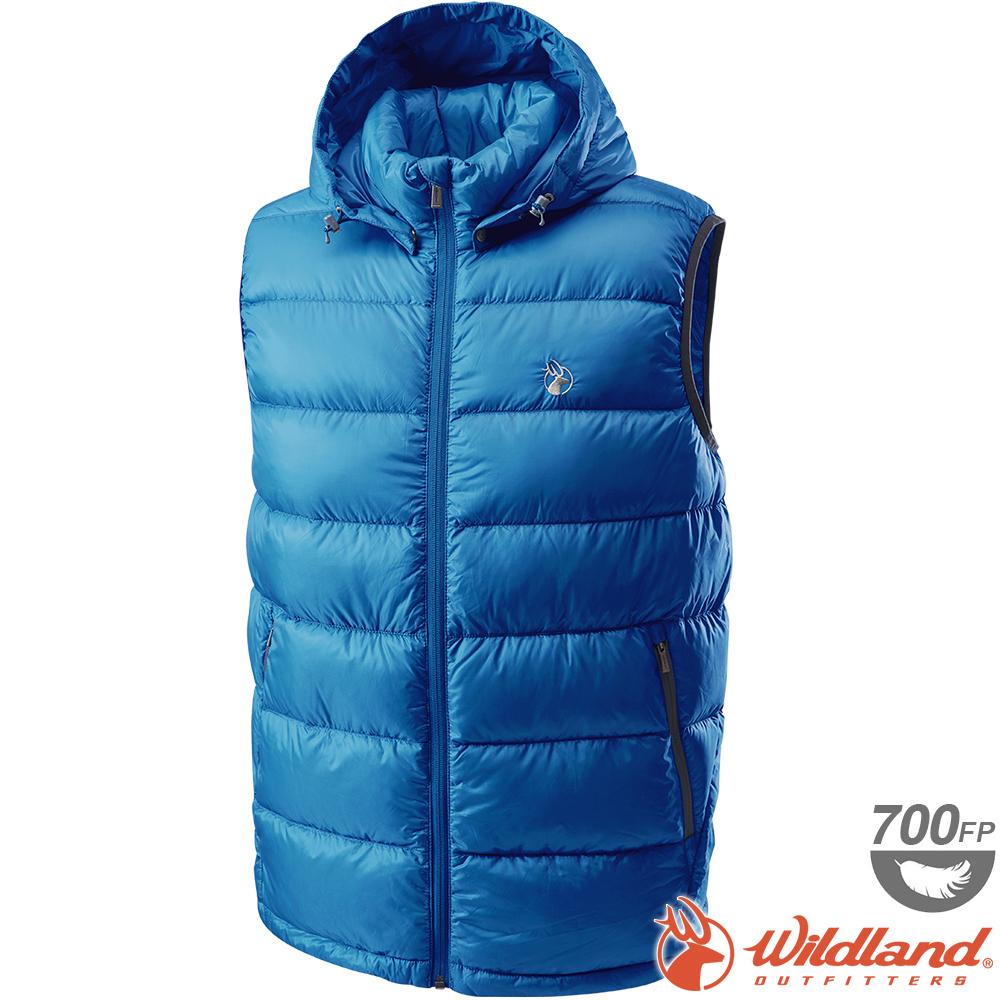 Wildland 荒野 0A62172-52海藍色 男700FP拆帽輕羽絨背心