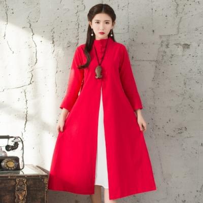 民族風文藝棉麻盤扣立領罩衫連衣裙M-XL(共三色)-REKO