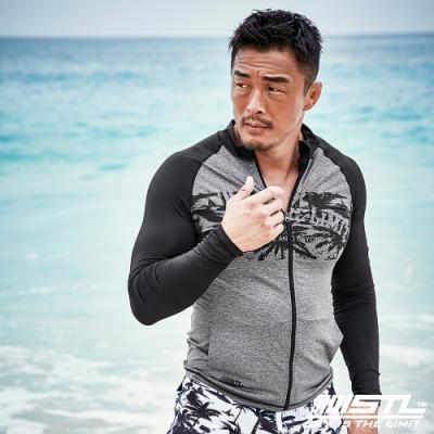 STL Rash Guard 男防曬衝浪游泳兩用防磨衣/水母外套 熱帶灰