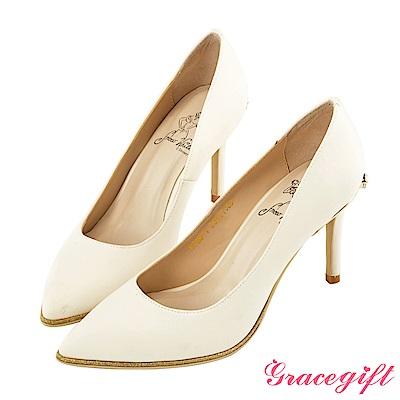 Disney collection by Grace gift蝴蝶結鑽釦金蔥高跟鞋 白
