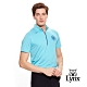 【Lynx Golf】男款吸濕排汗抗UV小山貓繡花短袖立領POLO衫-水藍色 product thumbnail 2